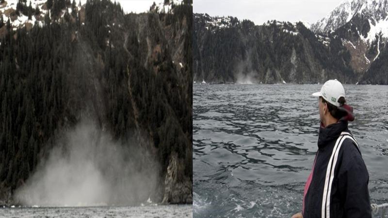 Após as orcas se afastarem ocorreu o deslizamento (em detalhe a esquerda), sendo observado do barco (direita). Foto: Milton Marcondes